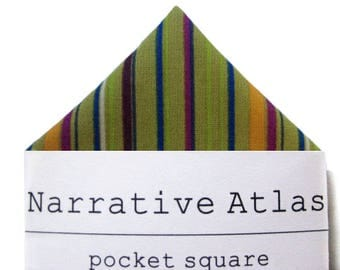 Pocket Square - Avocado Ombre Stripe  - Mix It Up Collection