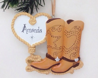 FREE SHIPPING Cowboy Boots and Lasso Heart Christmas Ornament / Cowboy Love / Hand Personalized Christmas Ornament