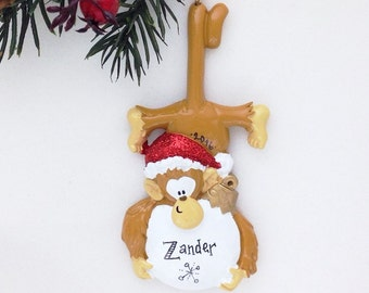 FREE SHIPPING Monkey Personalized Christmas Ornament / Monkey with Snowball in Santa Hat / Zoo Ornament / Hand Personalized Ornament