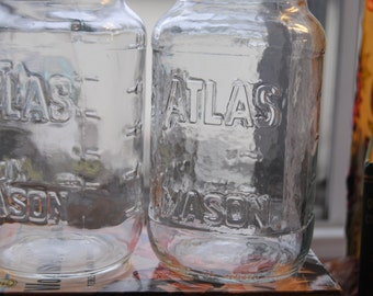 Mason Jars/Vintage Atlas Mason Jars Lot of 2 Quart Jars/Glass Jars/Vintage Glass Jars/Canning Jars