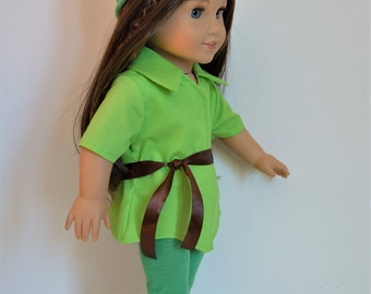 """Handmade Doll Clothes Peter Pan Costume fit 18"""" American Girl Dolls St. Patrick's Day"""