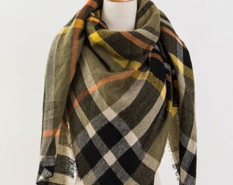 Olive Green Plaid Blanket Scarf, Winter Scarf, Womens Plaid Scarf, Tartan Scarf, Blanket Plaid Scarf, Oversized Scarf, Gift For Her