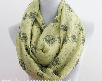 Olive Green Dandelion Infinity Scarf, Flower Scarf, Spring Summer Scarf, Floral Scarf, Gift, for Her, for Mom, Birthday Gift, For wife