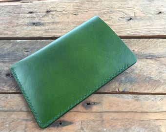 Field Notes Cover - Forest Green - Hand Dyed - Veg Tan Leather - Choice of Thread Colour - Hand Stitched
