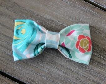 Cotton Knit tuxedo bow, floral print tuxedo headband, tuxedo bow headband, blue white and coral tuxedo bow headband, baby nylon headband