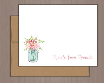 Personalized Note Card Set, Flat Note Cards, Mason Jar Note Cards, Personalized Stationery, Personalized Stationary, Thank you Notes, Girls