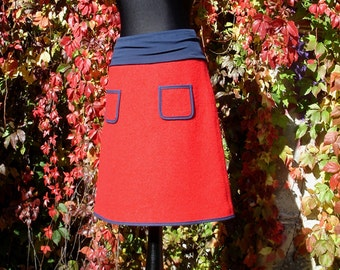 Walking rock red blue wool skirt winter warm skirt women's skirt hot women wool skirt