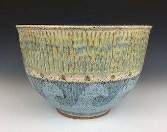 ceramic mixing bowl, ceramic serving bowl, ceramic fruit bowl, ceramic batter bowl, nautical pottery, wheel thrown bowl