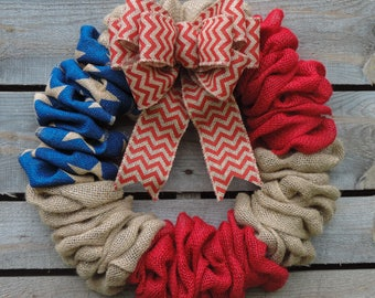 Memorial Day - 4th of July Burlap Wreath