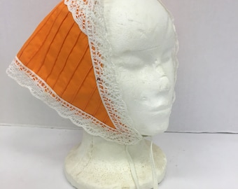 Vintage 60s head scarf tie triangle scarf orange and lace / cotton scarf