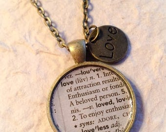 Love, love jewelry, dictionary jewelry, disctinary page jewelry, love necklace, love pendant, love gifts, gifts for her