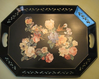 Metal Floral Tray--Decoupaged in Shabby Chic Style!