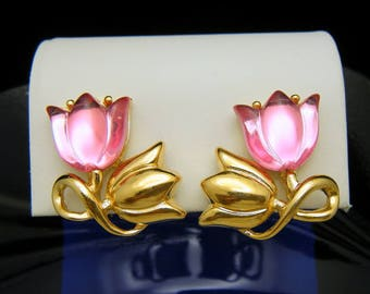 Trifari TM Vintage 1990s Earrings Pink Acrylic Tulip Flowers Gold Tone Clip Ons