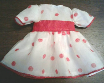 1/2 SALE Doll dress Shirley Temple style white & red polka dot dress and panties