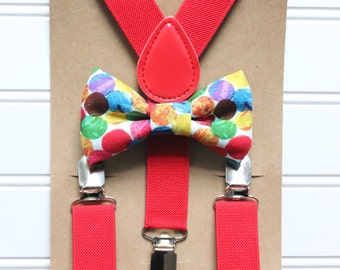 Bowtie and Suspenders Set/The Very Hungry Caterpillar Bowtie/Red Suspenders/Baby and Toddler Bowties/Birthday and Wedding Sets