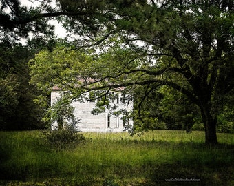White House Photograph, Abandoned  White House Landscape  Art in Color or Black and White,  Rustic Landscape Fine Art Print or Canvas Wrap