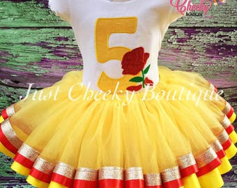 Beauty and the Beast Birthday Outfit -Belle Birthday Shirt -Belle Birthday Outfit -Disney Princess Birthday Shirt -Disney Vacation -Rose