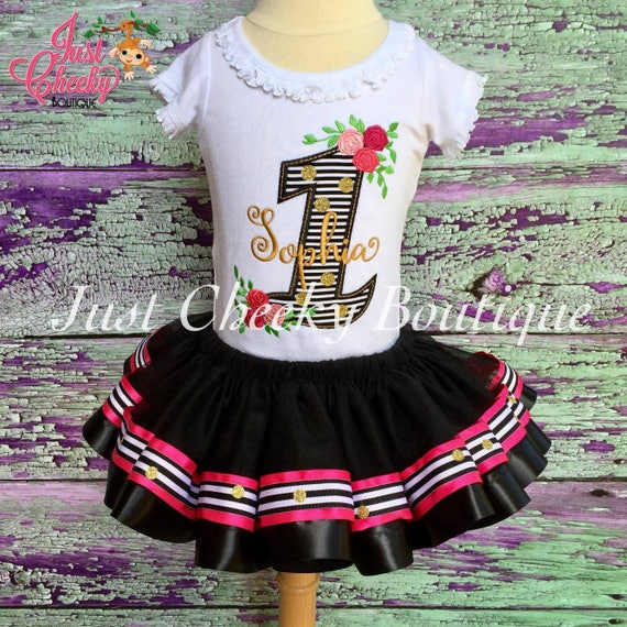 Floral Birthday Outfit - First Birthday Shirt - First Birthday Outfit - Black White and Gold Birthday Party - Rose Birthday Outfit