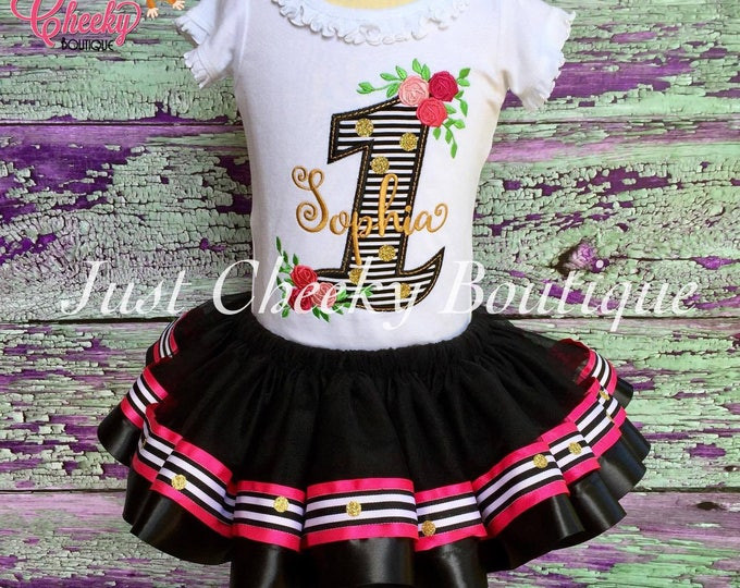 Floral Birthday Outfit - First Birthday Shirt - First Birthday Outfit - Black White and Gold Birthday Party