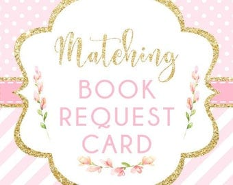 Made to Match Printable Book Request Card, Add-on to your Invitation Order, Made to Order, DIGITAL FILES