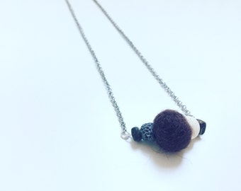 Brown Wool Necklace, Essential Oil Diffuser, Cross Bar Necklace, Clay Lava Bead, Minimalist, Modern Aromatherapy Jewelry