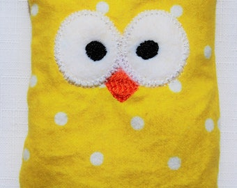 Ouchie Owl ~ Hot or Cold ~ Rice Pack - Yellow and White - Polka Dots