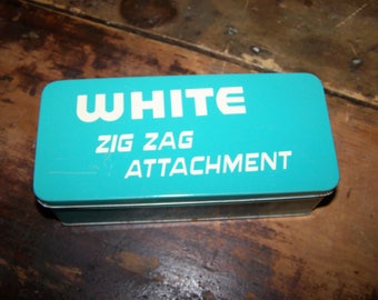 Vintage Advertising Tin Litho Turquoise  Box WHITE Zig Zag Attachment Empty For Display