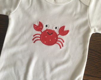 Applique Crab Onsie or T-Shirt/ Embroider Baby Clothes