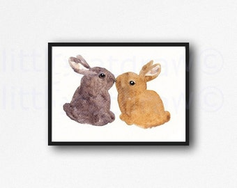 Rabbit Print Kissing Bunny Rabbit Watercolor Painting Art Print Woodland Animal Wall Art Watercolor Print Wall Decor Unframed