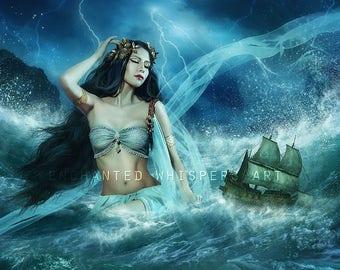 Greek Goddess Calypso fantasy art print by Enchanted Whispers