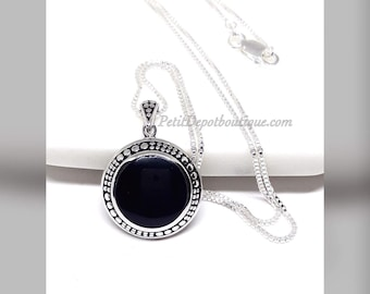 Black Onyx Necklace Sterling Silver Onyx Pendant Black Stone Large Pendant Medallion Silver Necklace Onyx Jewelry Everyday