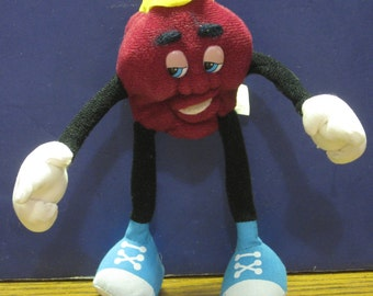 California Raisins Bendy Plush Raisin Boy Doll 1988 Vintage - Applause 5 1/2""