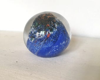 Swedish vintage handmade glass paper weight blue art glass. 40s Scandinavian sphere glass retro glass paper weight abstract sculpture