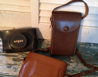Collection of Leather Camera Cases 3 Cases Ansco, Argus Camera Cases Photo Prop