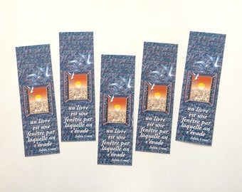 Batch of bookmarks one window, mark illustrated page, collection of bookmarks, accessory of reading