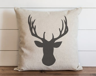 Deer Head 20 x 20 Pillow Cover // Fall // Autumn // Thanksgiving // Throw Pillow // Gift // Accent Pillow