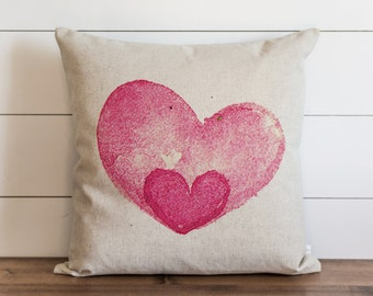 Watercolor Heart 20 x 20 Pillow Cover // Valentine's Day // Everyday // Throw Pillow // Gift // Accent Pillow // Cushion Cover