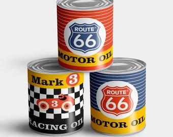 Vintage Race Car Can Drum Cans (DIY Print Printables)