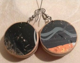 Beautiful Recycled skateboard earrings