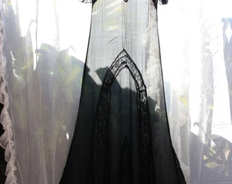 Risque Exotic Black Silk Chiffon and Lace late 1920s Maxi Dress
