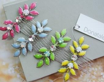 Leaf Hair comb Bridesmaid hair  Wedding hair piece Wedding hair comb Wedding headpiece Pink Yellow Green Blue headpiece  gift