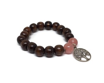 CLEARANCE - Nice wood beads bracelet with 2 cherry quartz and a tree of life charm
