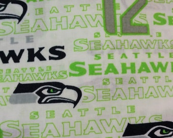 "Seattle Seahawks NFL White 100% Cotton 1/2 yard 58"" wide"