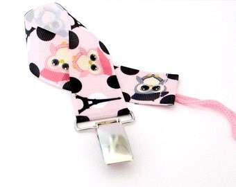 Pink Pacifier Clip/ Pink Pacifier Holder/ Owl Pacifier Clip/ Owl Pacifier Holder/ Baby Pacifier Clip/ Baby Girl Baby Shower