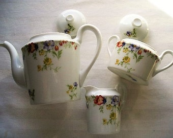 Vintage Tea Set|Giraud Limoges Tea Set|Five Piece Tea Set|Limoges Sauviat 1836|Made in France
