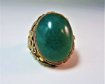 Old Chinese gold on silver jade filigree adjustable ring