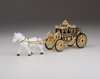 limited edition White Horse Pulling a Golden Carriage Unique Faberge Style Trinket Box