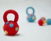 Crocheted Dumbbell toy and fitness Weight in rainbow colors-Crocheted Rattle Weights-Kettlebel and dumbell in rainbow colors-Baby gift