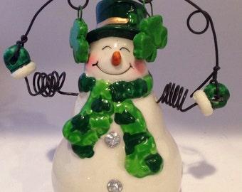 Irish Snowman Personalized Christmas Ornaments