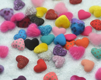 Randomly Mixed 30PCS/Pack 17*15mm Heart Shape Flatback Fabric Buttons,Earing Accessoris,D.I.Y Materials LNC1612220002